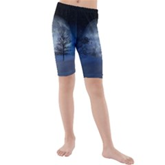 Winter Wintry Moon Christmas Snow Kids  Mid Length Swim Shorts
