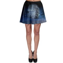 Winter Wintry Moon Christmas Snow Skater Skirt