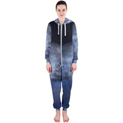 Winter Wintry Moon Christmas Snow Hooded Jumpsuit (ladies)