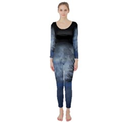 Winter Wintry Moon Christmas Snow Long Sleeve Catsuit