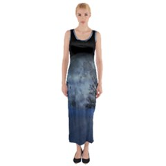 Winter Wintry Moon Christmas Snow Fitted Maxi Dress
