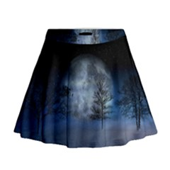Winter Wintry Moon Christmas Snow Mini Flare Skirt