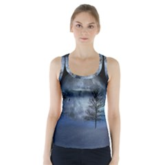 Winter Wintry Moon Christmas Snow Racer Back Sports Top