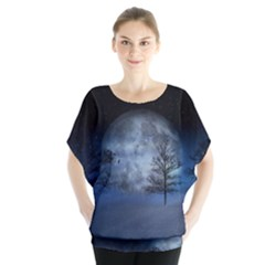 Winter Wintry Moon Christmas Snow Blouse