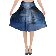 Winter Wintry Moon Christmas Snow Flared Midi Skirt