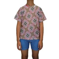 Pattern Texture Moroccan Print Kids  Short Sleeve Swimwear