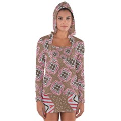 Pattern Texture Moroccan Print Long Sleeve Hooded T Shirt