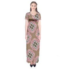 Pattern Texture Moroccan Print Short Sleeve Maxi Dress