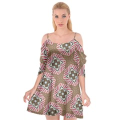 Pattern Texture Moroccan Print Cutout Spaghetti Strap Chiffon Dress