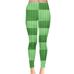 Wool Ribbed Texture Green Shades Leggings