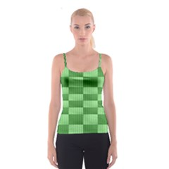 Wool Ribbed Texture Green Shades Spaghetti Strap Top
