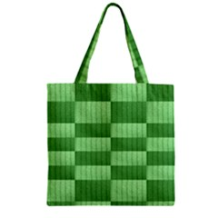 Wool Ribbed Texture Green Shades Zipper Grocery Tote Bag