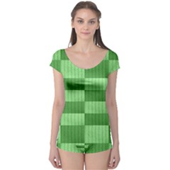Wool Ribbed Texture Green Shades Boyleg Leotard