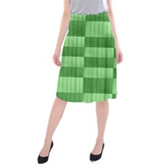Wool Ribbed Texture Green Shades Midi Beach Skirt
