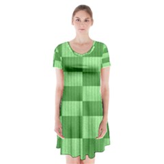Wool Ribbed Texture Green Shades Short Sleeve V Neck Flare Dress