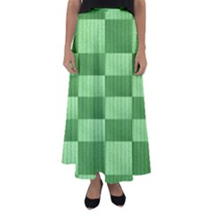 Wool Ribbed Texture Green Shades Flared Maxi Skirt
