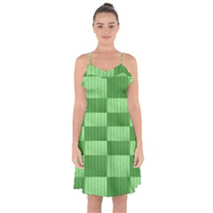 Wool Ribbed Texture Green Shades Ruffle Detail Chiffon Dress