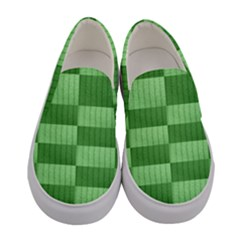 Wool Ribbed Texture Green Shades Women s Canvas Slip Ons
