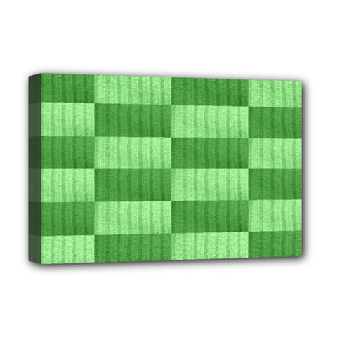 Wool Ribbed Texture Green Shades Deluxe Canvas 18  X 12