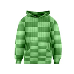 Wool Ribbed Texture Green Shades Kids  Pullover Hoodie