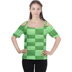 Wool Ribbed Texture Green Shades Cutout Shoulder Tee