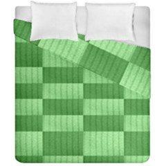 Wool Ribbed Texture Green Shades Duvet Cover Double Side (california King Size)