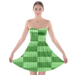 Wool Ribbed Texture Green Shades Strapless Bra Top Dress