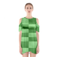 Wool Ribbed Texture Green Shades Shoulder Cutout One Piece