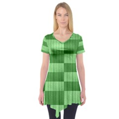 Wool Ribbed Texture Green Shades Short Sleeve Tunic