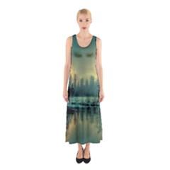 Yosemite Park Landscape Sunrise Sleeveless Maxi Dress