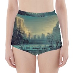 Yosemite Park Landscape Sunrise High Waisted Bikini Bottoms