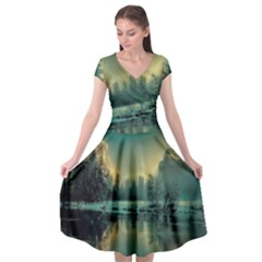 Yosemite Park Landscape Sunrise Cap Sleeve Wrap Front Dress