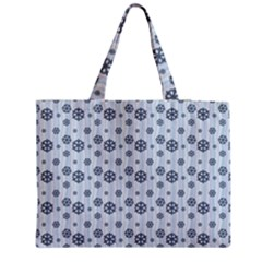 Snowflakes Winter Christmas Card Zipper Medium Tote Bag