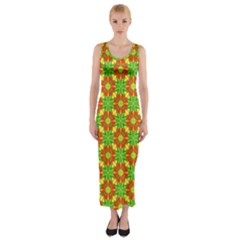 Pattern Texture Christmas Colors Fitted Maxi Dress
