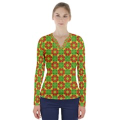 Pattern Texture Christmas Colors V Neck Long Sleeve Top