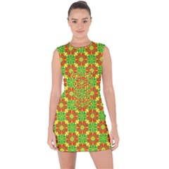 Pattern Texture Christmas Colors Lace Up Front Bodycon Dress