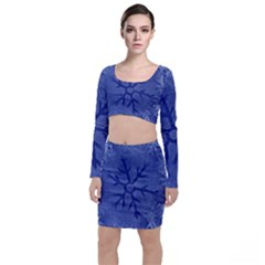 Winter Hardest Frost Cold Long Sleeve Crop Top & Bodycon Skirt Set