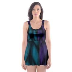Background Weave Plait Blue Purple Skater Dress Swimsuit