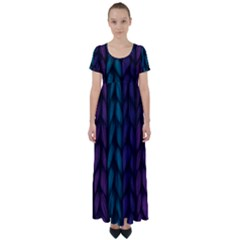Background Weave Plait Blue Purple High Waist Short Sleeve Maxi Dress