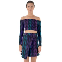 Background Weave Plait Blue Purple Off Shoulder Top With Skirt Set
