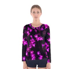 Abstract Background Purple Bright Women s Long Sleeve Tee