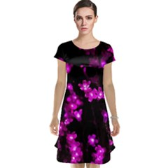 Abstract Background Purple Bright Cap Sleeve Nightdress