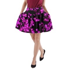 Abstract Background Purple Bright A Line Pocket Skirt
