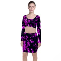 Abstract Background Purple Bright Long Sleeve Crop Top & Bodycon Skirt Set