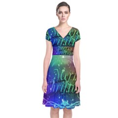 Christmas Greeting Card Frame Short Sleeve Front Wrap Dress