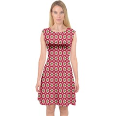 Christmas Wrapping Paper Capsleeve Midi Dress