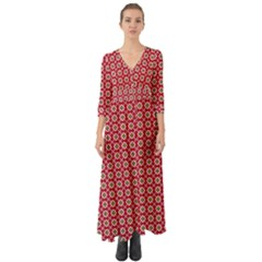 Christmas Wrapping Paper Button Up Boho Maxi Dress