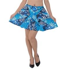 Christmas Background Wallpaper Velvet Skater Skirt