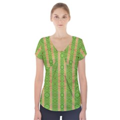 Seamless Tileable Pattern Design Short Sleeve Front Detail Top