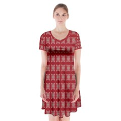 Christmas Paper Wrapping Paper Short Sleeve V Neck Flare Dress